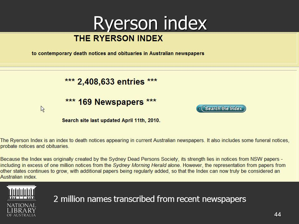 44 Ryerson index 2 million names transcribed from recent newspapers