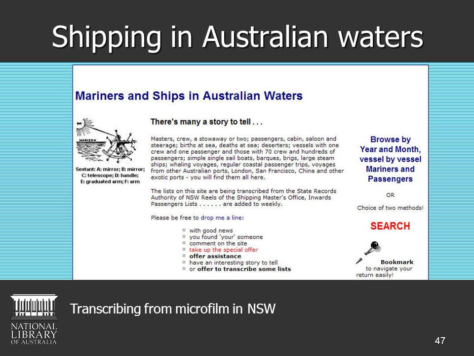 47 Shipping in Australian waters Transcribing from microfilm in NSW