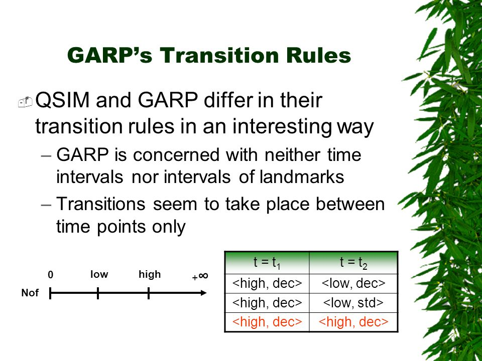 GARPs Transition Rules QSIM and GARP differ in their transition rules in an interesting way –GARP is concerned with neither time intervals nor interva