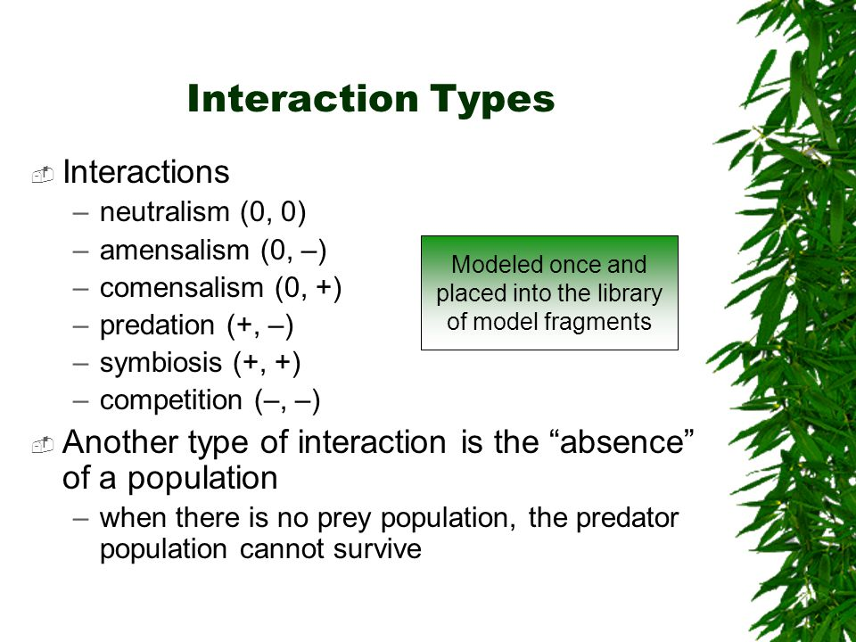 Interaction Types Interactions –neutralism (0, 0) –amensalism (0, –) –comensalism (0, +) –predation (+, –) –symbiosis (+, +) –competition (–, –) Anoth