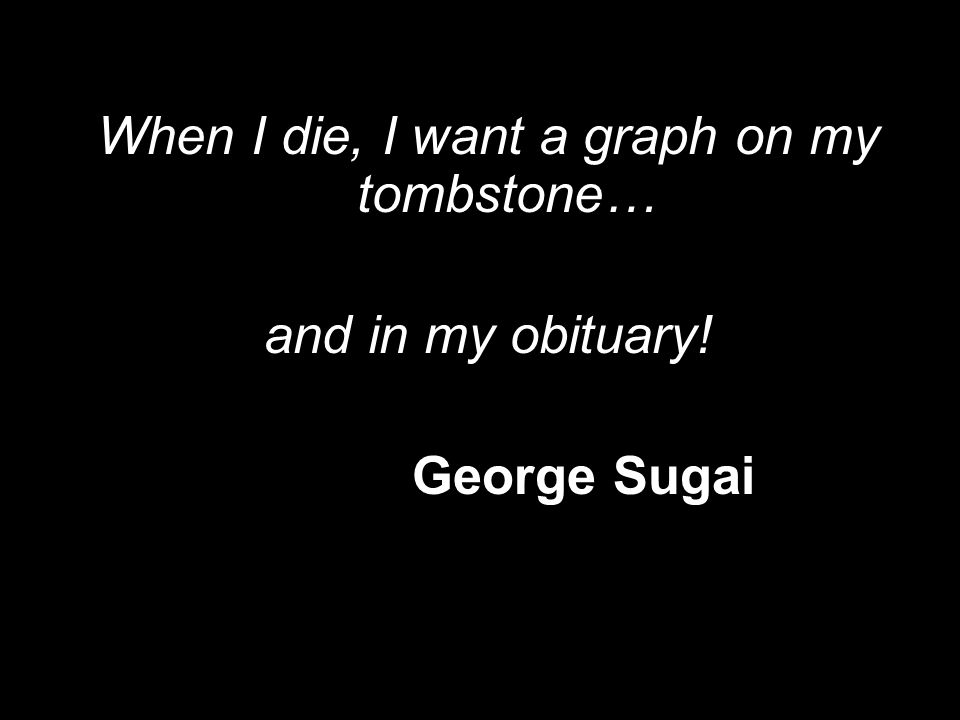 When I die, I want a graph on my tombstone… and in my obituary! George Sugai