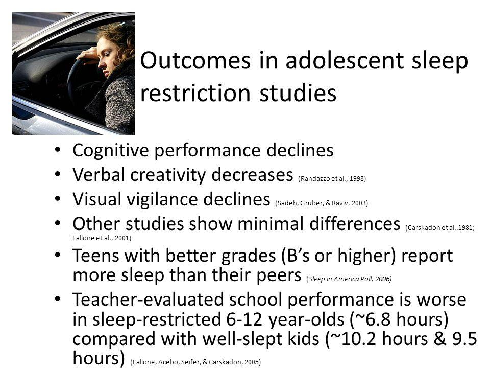 Outcomes in adolescent sleep restriction studies Cognitive performance declines Verbal creativity decreases (Randazzo et al., 1998) Visual vigilance d
