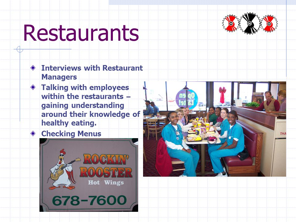Restaurants Interviews with Restaurant Managers Talking with employees within the restaurants – gaining understanding around their knowledge of health