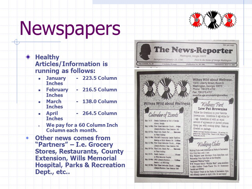 Newspapers Healthy Articles/Information is running as follows: January - 223.5 Column Inches February- 216.5 Column Inches March- 138.0 Column Inches