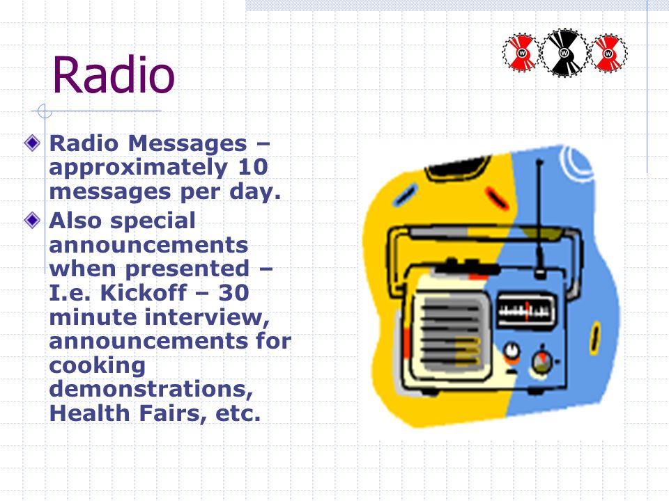 Radio Radio Messages – approximately 10 messages per day.