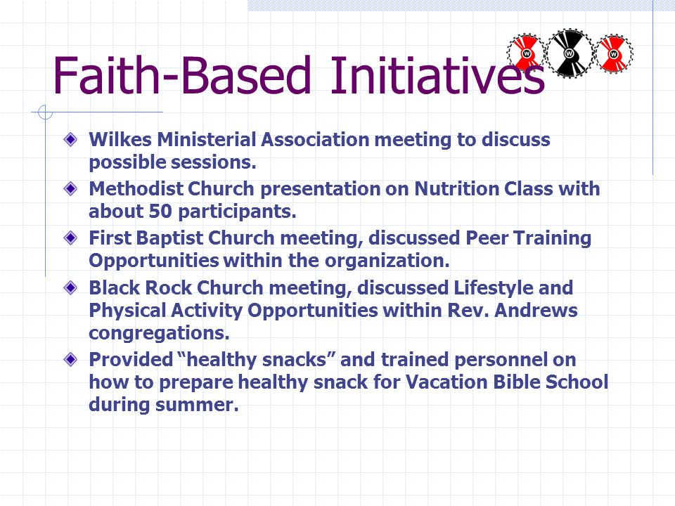 Faith-Based Initiatives Wilkes Ministerial Association meeting to discuss possible sessions.