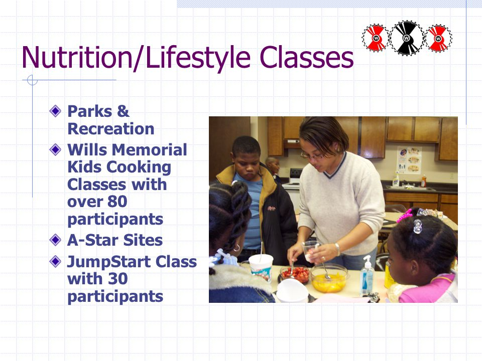 Nutrition/Lifestyle Classes Parks & Recreation Wills Memorial Kids Cooking Classes with over 80 participants A-Star Sites JumpStart Class with 30 participants