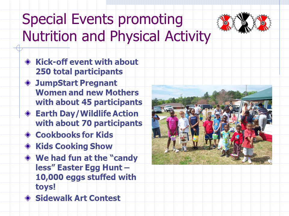 Special Events promoting Nutrition and Physical Activity Kick-off event with about 250 total participants JumpStart Pregnant Women and new Mothers with about 45 participants Earth Day/Wildlife Action with about 70 participants Cookbooks for Kids Kids Cooking Show We had fun at the candy less Easter Egg Hunt – 10,000 eggs stuffed with toys.