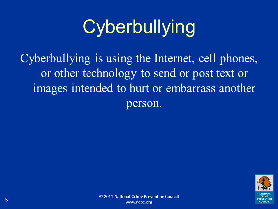 6 Examples of Cyberbullying Starting rumors through instant messaging Name calling in chat rooms Forwarding private messages to others Insults through social media websites Posting demeaning pictures of someone else Making fake profiles on websites, such as Facebook, MySpace, Twitter, etc.