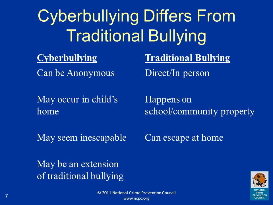 8 Cyberbullying: The Facts Things posted online are visible to the world 24 hours a day, 7 days a week.