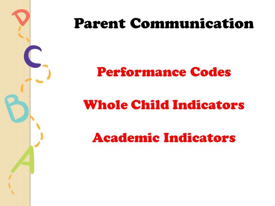 Parent Communication Performance Codes Whole Child Indicators Academic Indicators