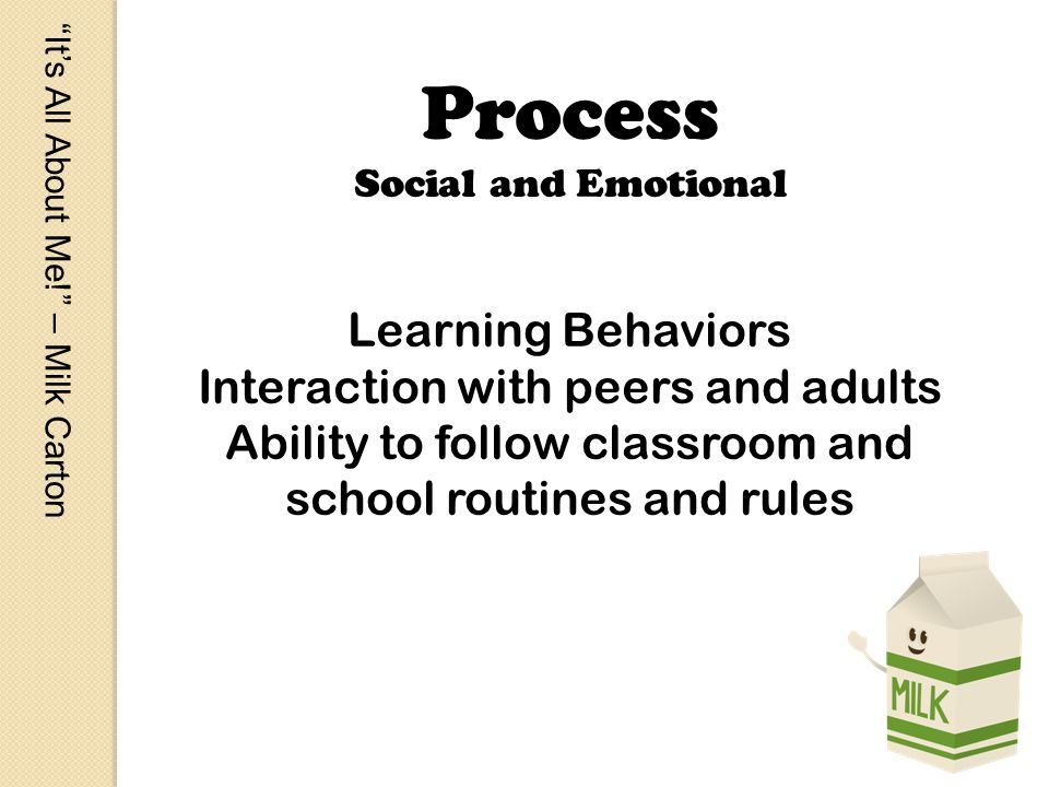 Its All About Me! – Milk Carton Process Social and Emotional Learning Behaviors Interaction with peers and adults Ability to follow classroom and scho