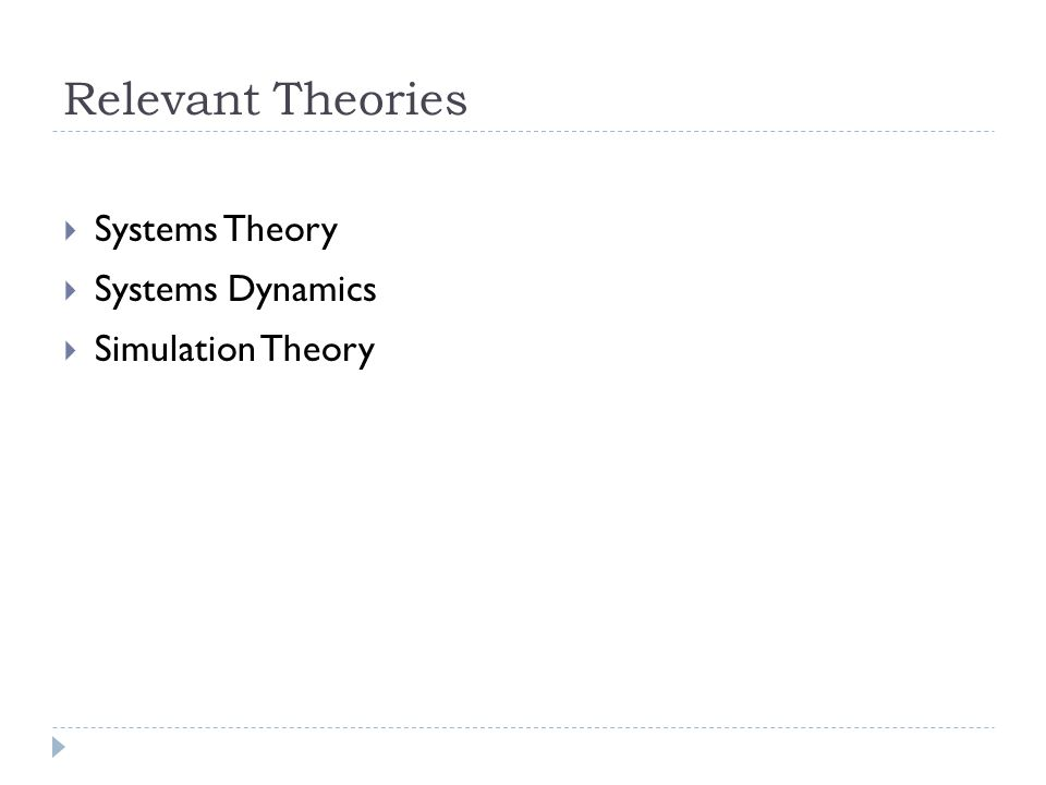 Relevant Theories Systems Theory Systems Dynamics Simulation Theory