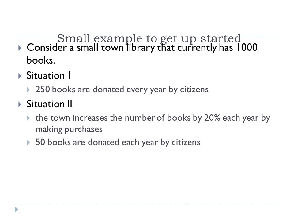 Small example to get up started Consider a small town library that currently has 1000 books.