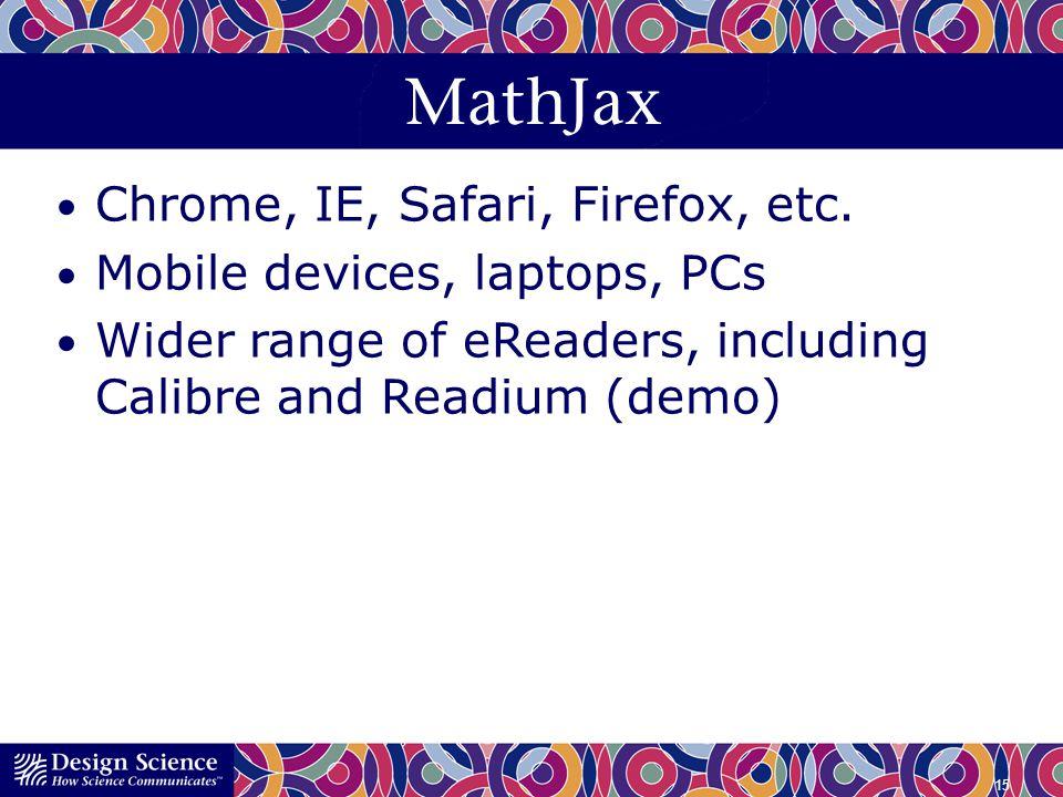 MathJax Chrome, IE, Safari, Firefox, etc. Mobile devices, laptops, PCs Wider range of eReaders, including Calibre and Readium (demo) 15