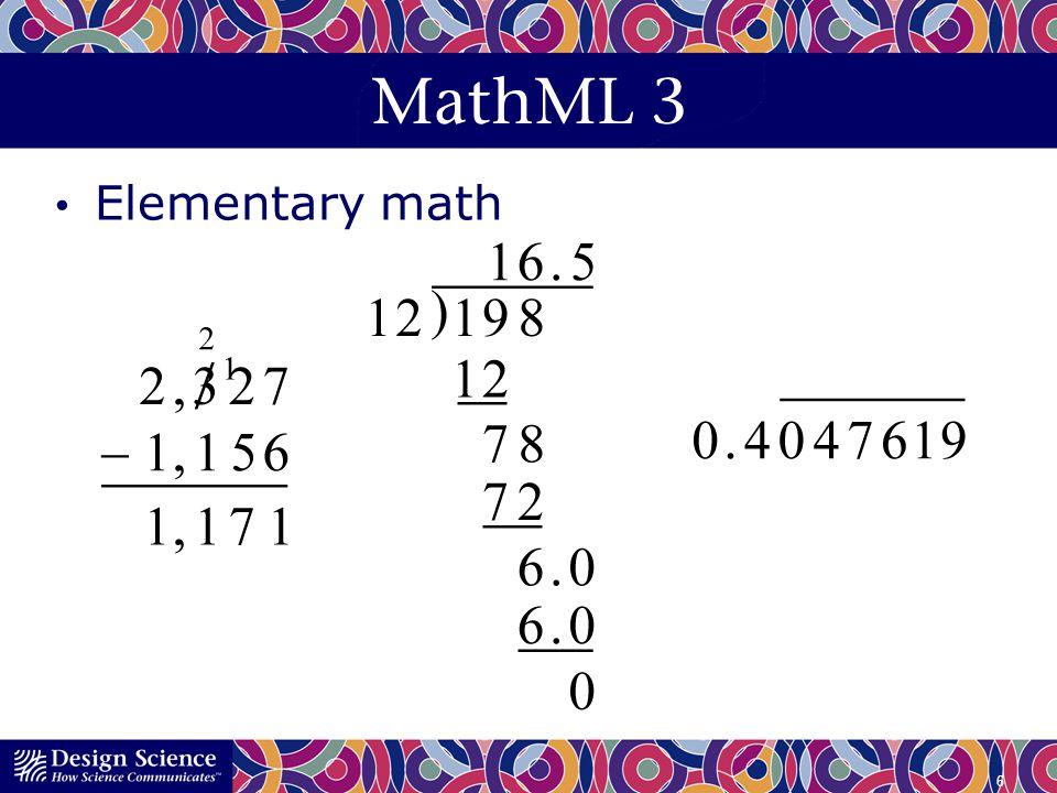 MathML 3 Elementary math 6