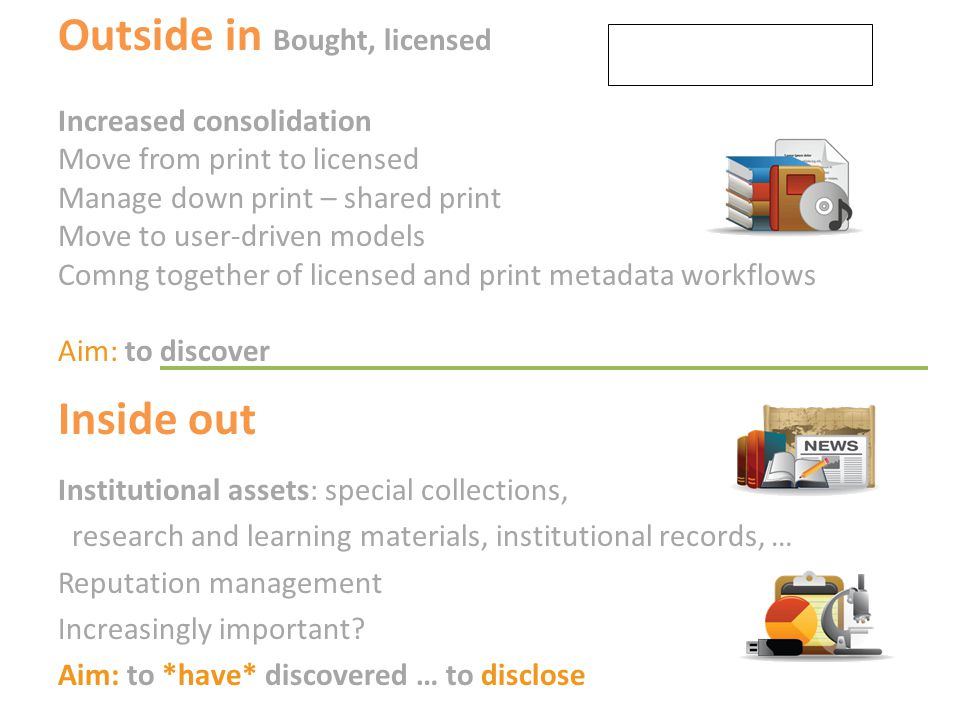 Outside in Bought, licensed Increased consolidation Move from print to licensed Manage down print – shared print Move to user-driven models Comng toge