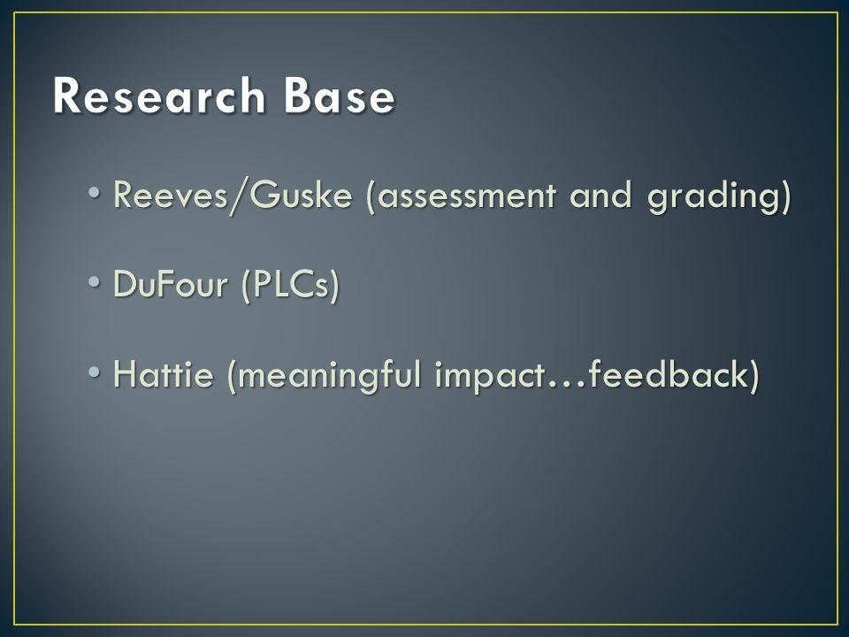 Reeves/Guske (assessment and grading) Reeves/Guske (assessment and grading) DuFour (PLCs) DuFour (PLCs) Hattie (meaningful impact…feedback) Hattie (me