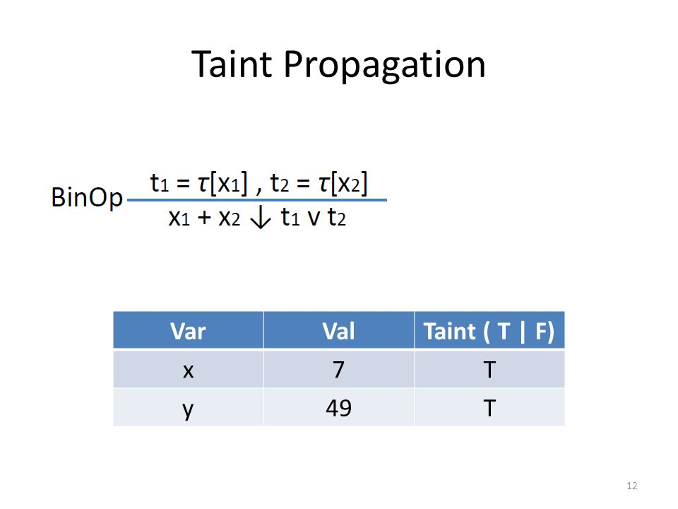 Taint Propagation VarValTaint ( T | F) x7T y49T 12