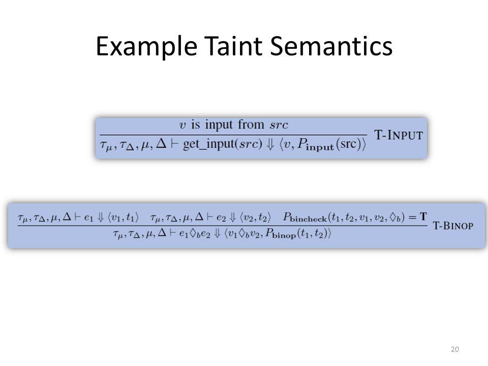 Example Taint Semantics 20