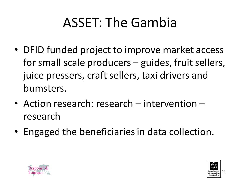ASSET: The Gambia DFID funded project to improve market access for small scale producers – guides, fruit sellers, juice pressers, craft sellers, taxi drivers and bumsters.