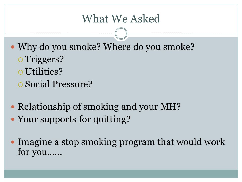 What We Asked Why do you smoke? Where do you smoke? Triggers? Utilities? Social Pressure? Relationship of smoking and your MH? Your supports for quitt