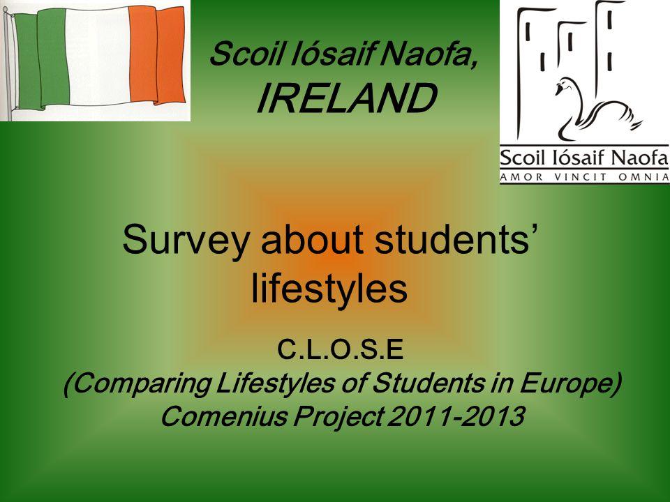 Survey about students lifestyles C.L.O.S.E (Comparing Lifestyles of Students in Europe) Comenius Project 2011-2013 Scoil Iósaif Naofa, IRELAND