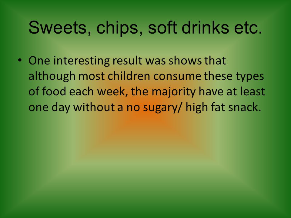 Sweets, chips, soft drinks etc.