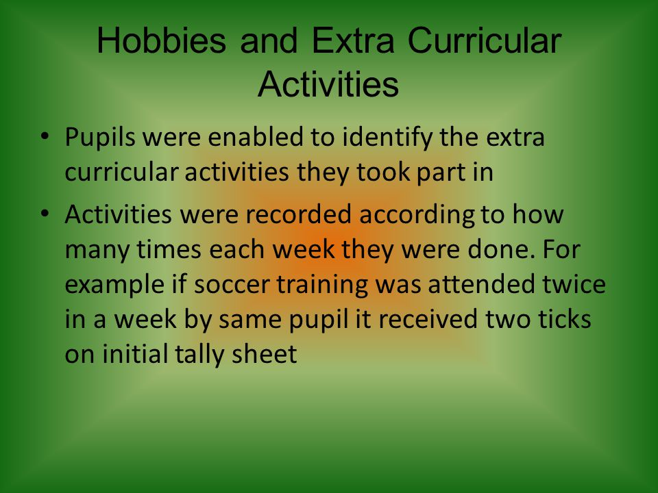 Hobbies and Extra Curricular Activities Pupils were enabled to identify the extra curricular activities they took part in Activities were recorded according to how many times each week they were done.