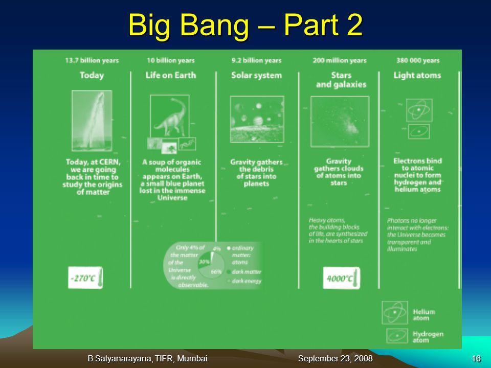 B.Satyanarayana, TIFR, Mumbai September 23, 200816 Big Bang – Part 2