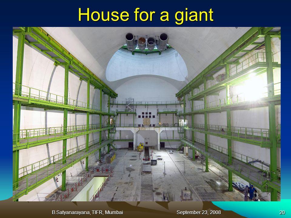 B.Satyanarayana, TIFR, Mumbai September 23, 200820 House for a giant