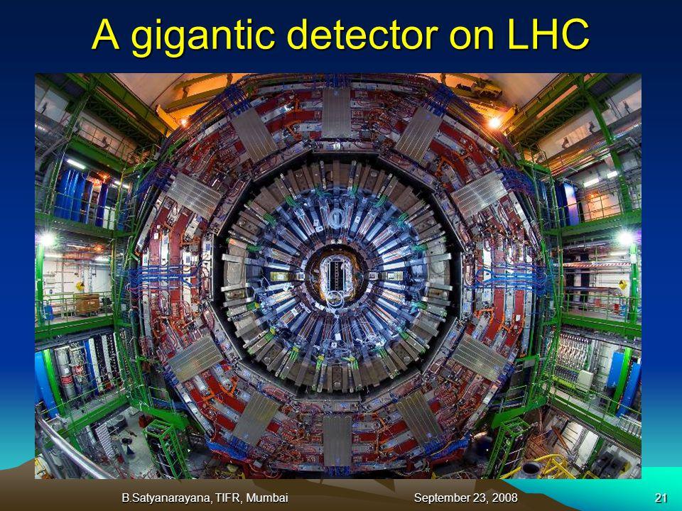 B.Satyanarayana, TIFR, Mumbai September 23, 200821 A gigantic detector on LHC