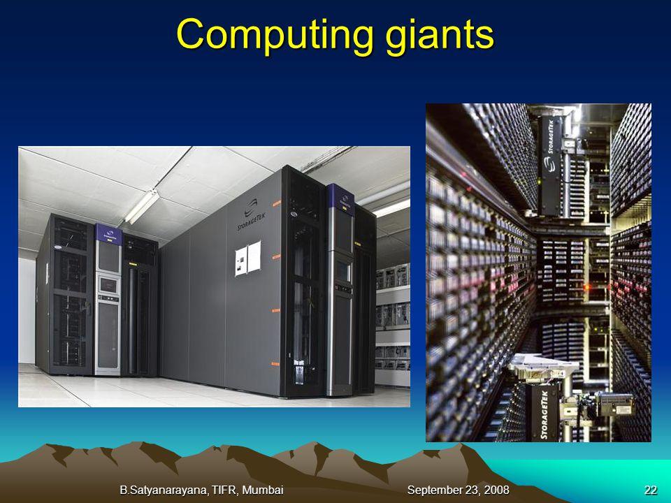 B.Satyanarayana, TIFR, Mumbai September 23, 200822 Computing giants