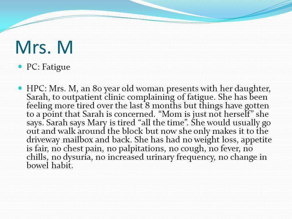 Mrs. M PC: Fatigue HPC: Mrs.