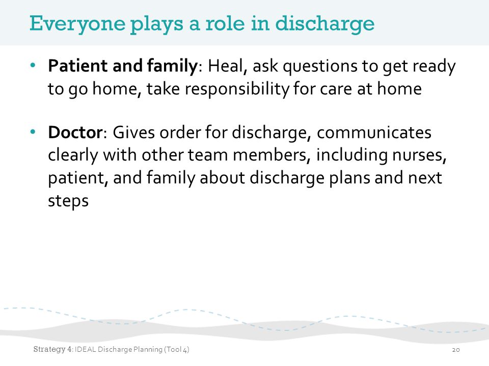 Everyone plays a role in discharge Patient and family: Heal, ask questions to get ready to go home, take responsibility for care at home Doctor: Gives