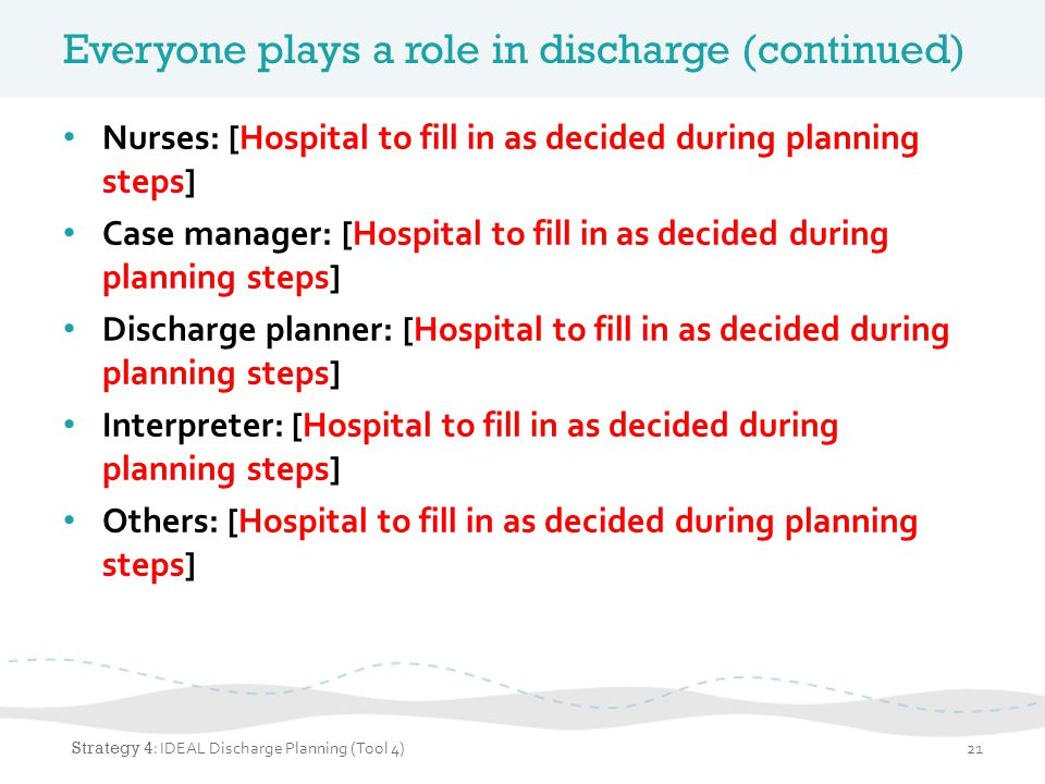 Everyone plays a role in discharge (continued) Nurses: [Hospital to fill in as decided during planning steps] Case manager: [Hospital to fill in as de