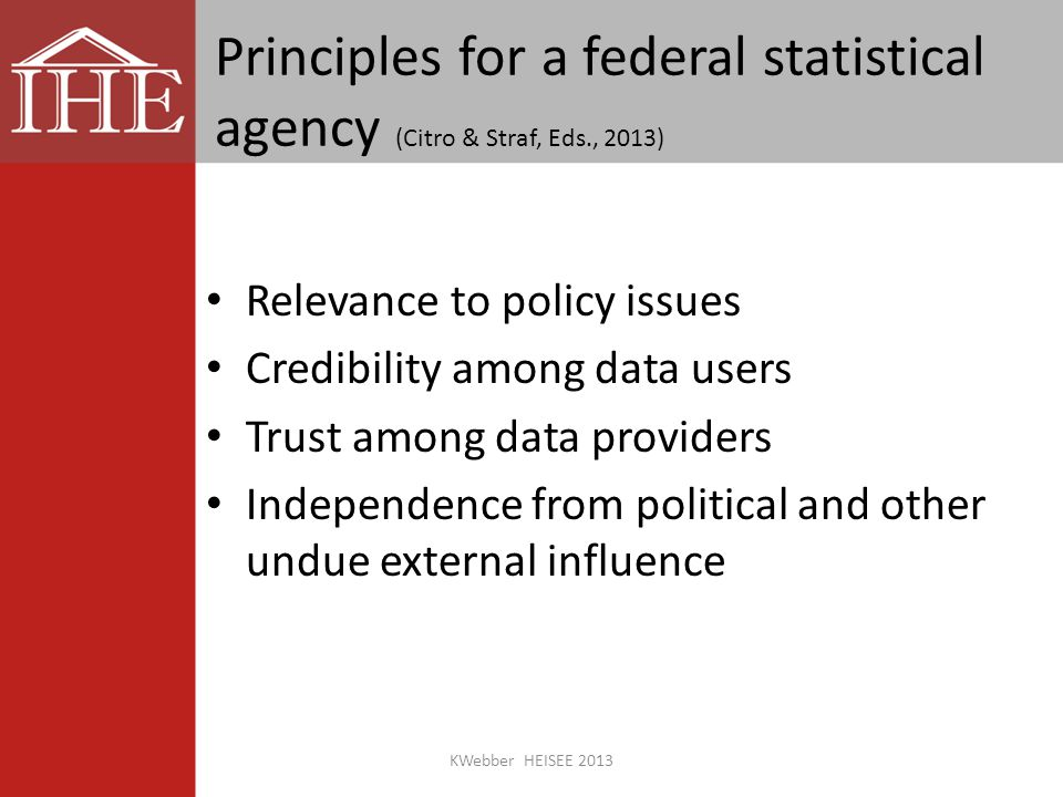 Principles for a federal statistical agency (Citro & Straf, Eds., 2013) Relevance to policy issues Credibility among data users Trust among data providers Independence from political and other undue external influence KWebber HEISEE 2013