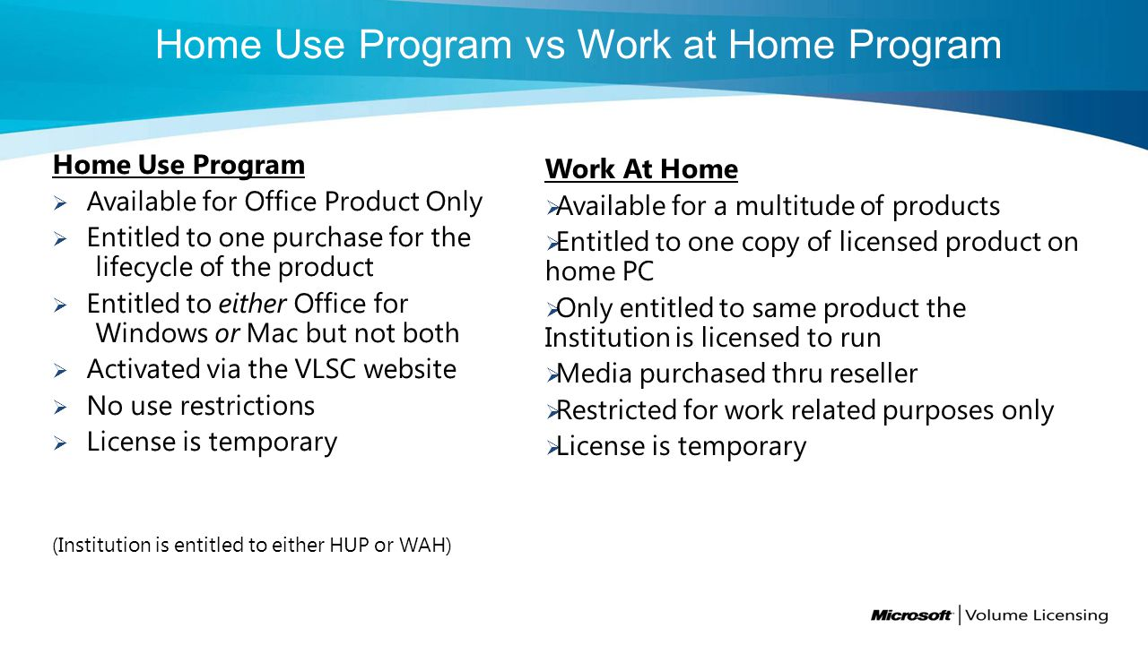 Home Use Program Available for Office Product Only Entitled to one purchase for the lifecycle of the product Entitled to either Office for Windows or