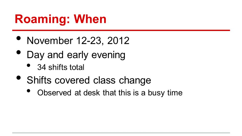 Roaming: When November 12-23, 2012 Day and early evening 34 shifts total Shifts covered class change Observed at desk that this is a busy time