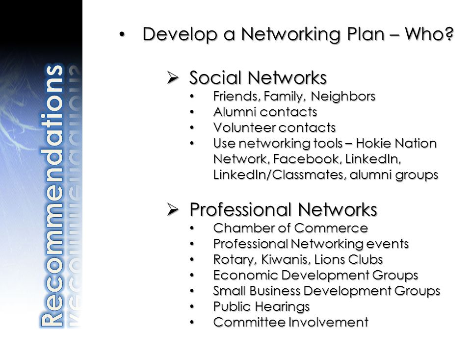 Develop a Networking Plan – Who? Develop a Networking Plan – Who? Social Networks Social Networks Friends, Family, Neighbors Friends, Family, Neighbor