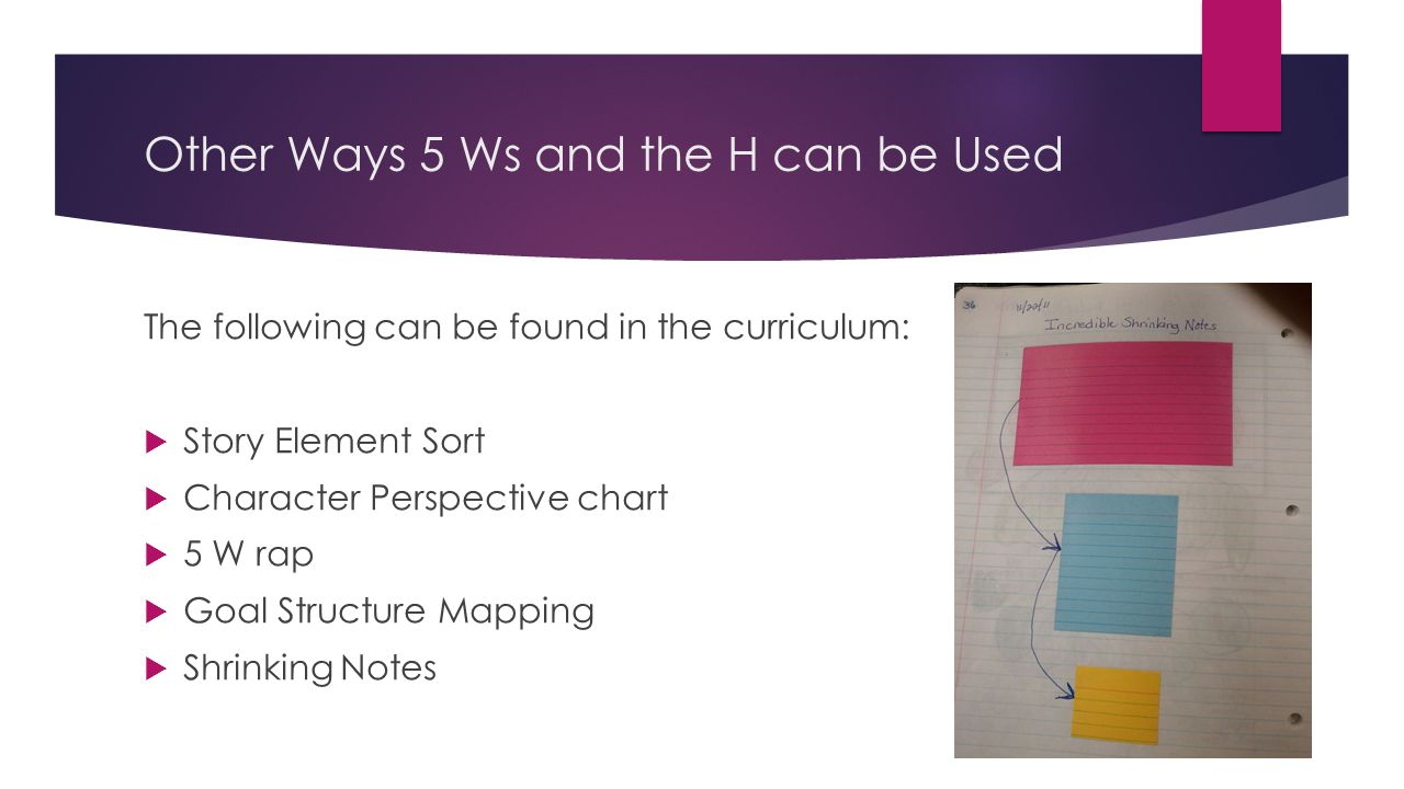 Other Ways 5 Ws and the H can be Used The following can be found in the curriculum: Story Element Sort Character Perspective chart 5 W rap Goal Struct