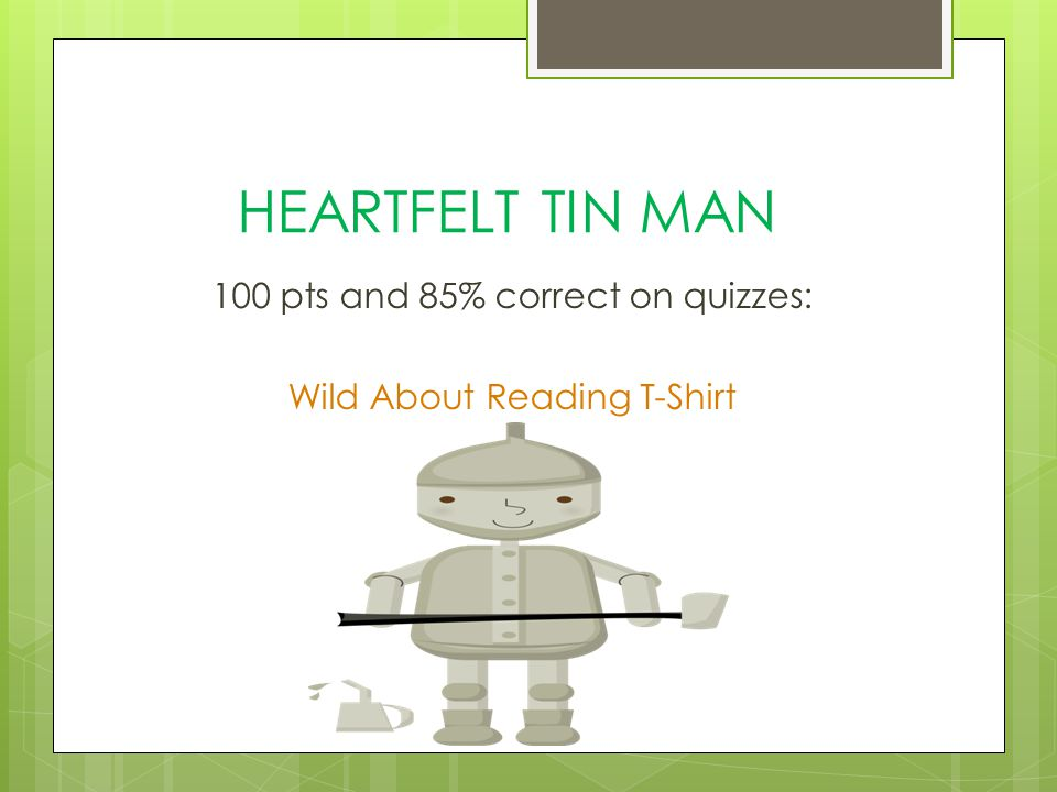 HEARTFELT TIN MAN 100 pts and 85% correct on quizzes: Wild About Reading T-Shirt