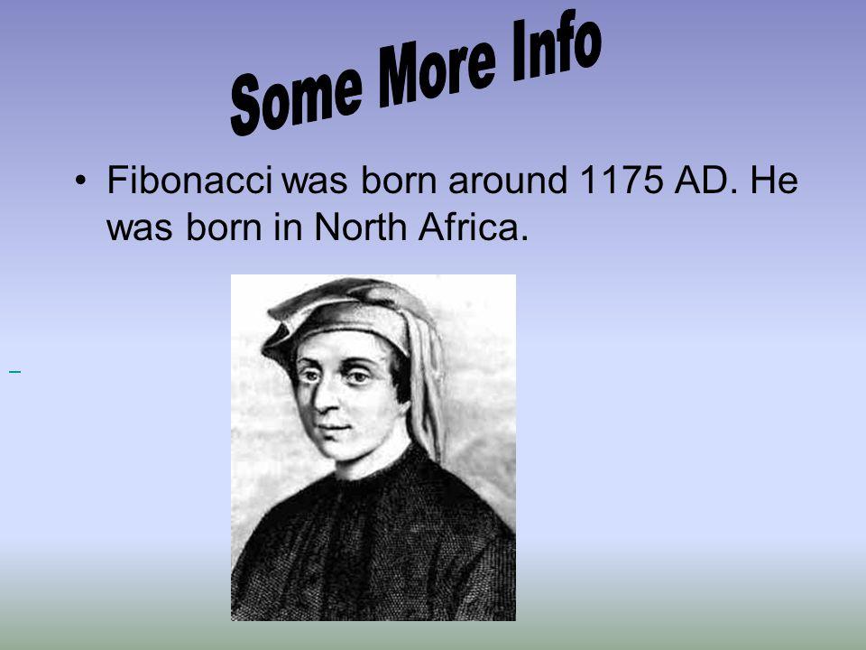 Fibonacci was born around 1175 AD. He was born in North Africa.