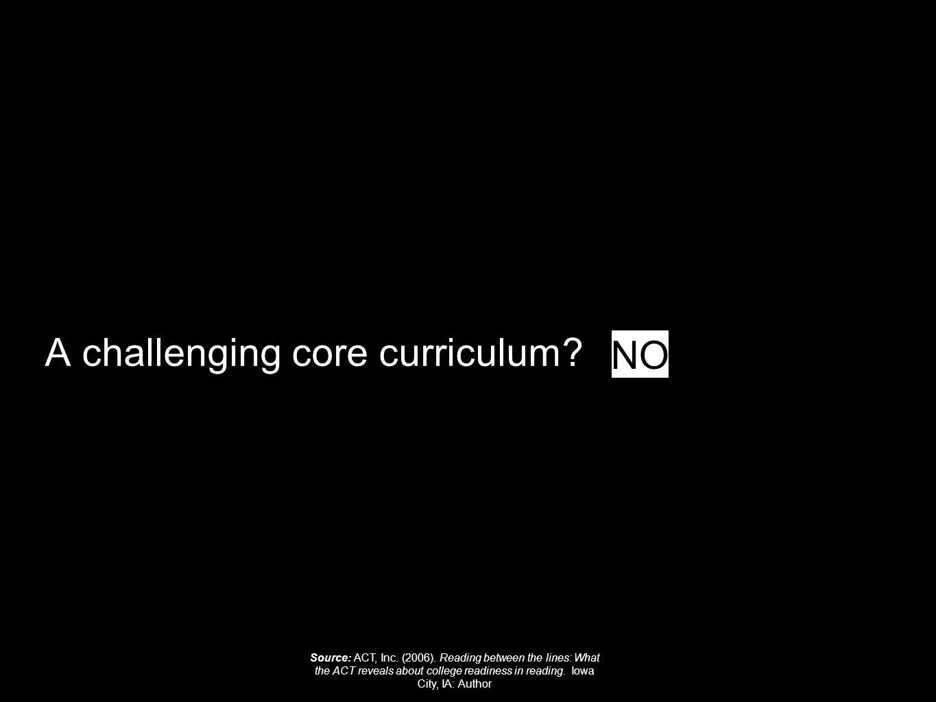 A challenging core curriculum. NO Source: ACT, Inc.