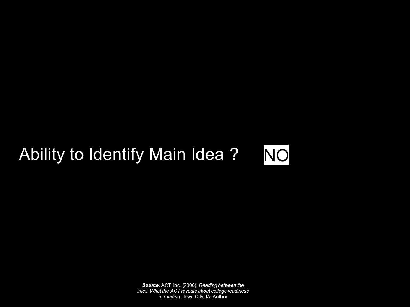 Ability to Identify Main Idea . NO Source: ACT, Inc.