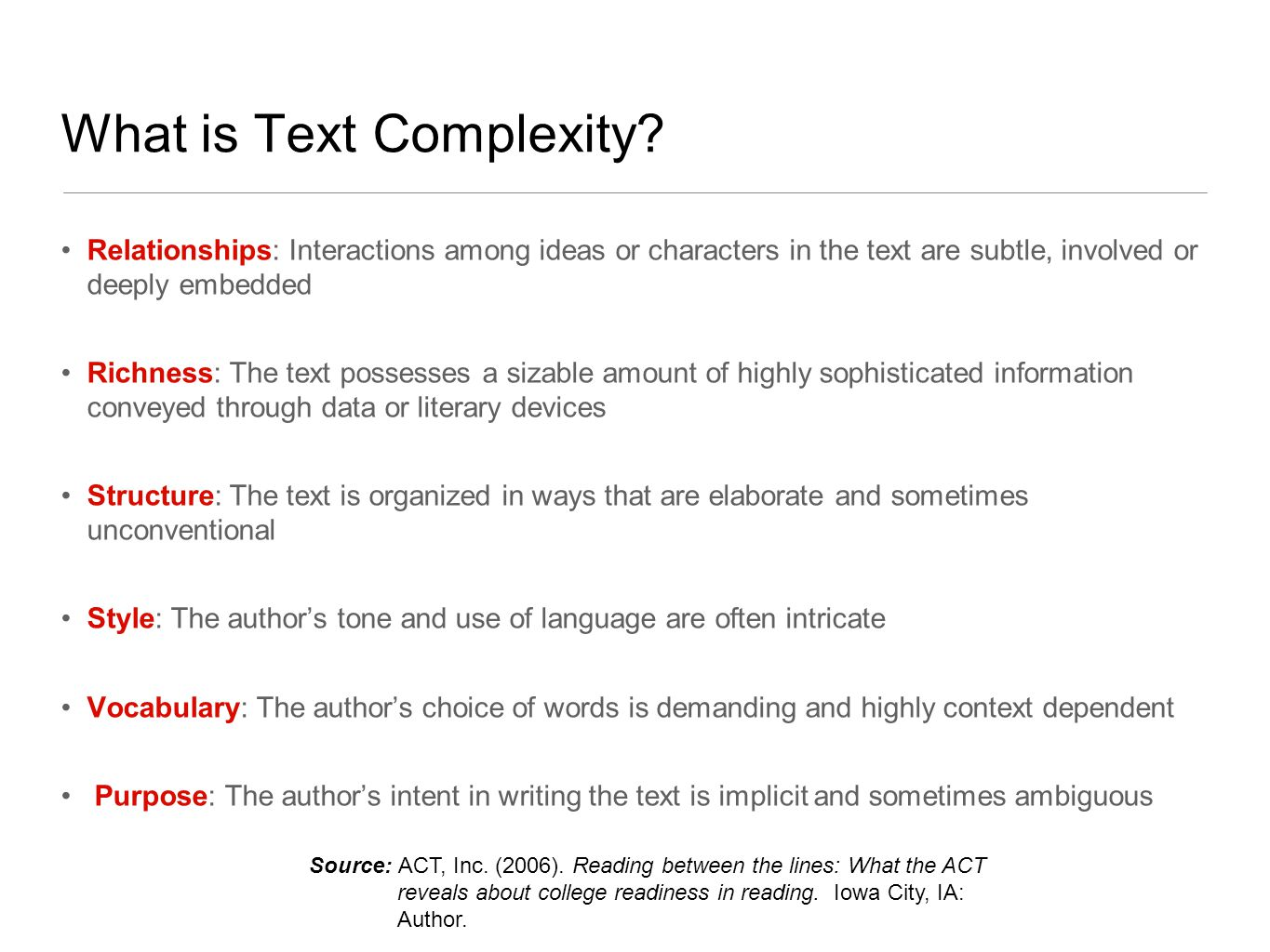 What is Text Complexity.