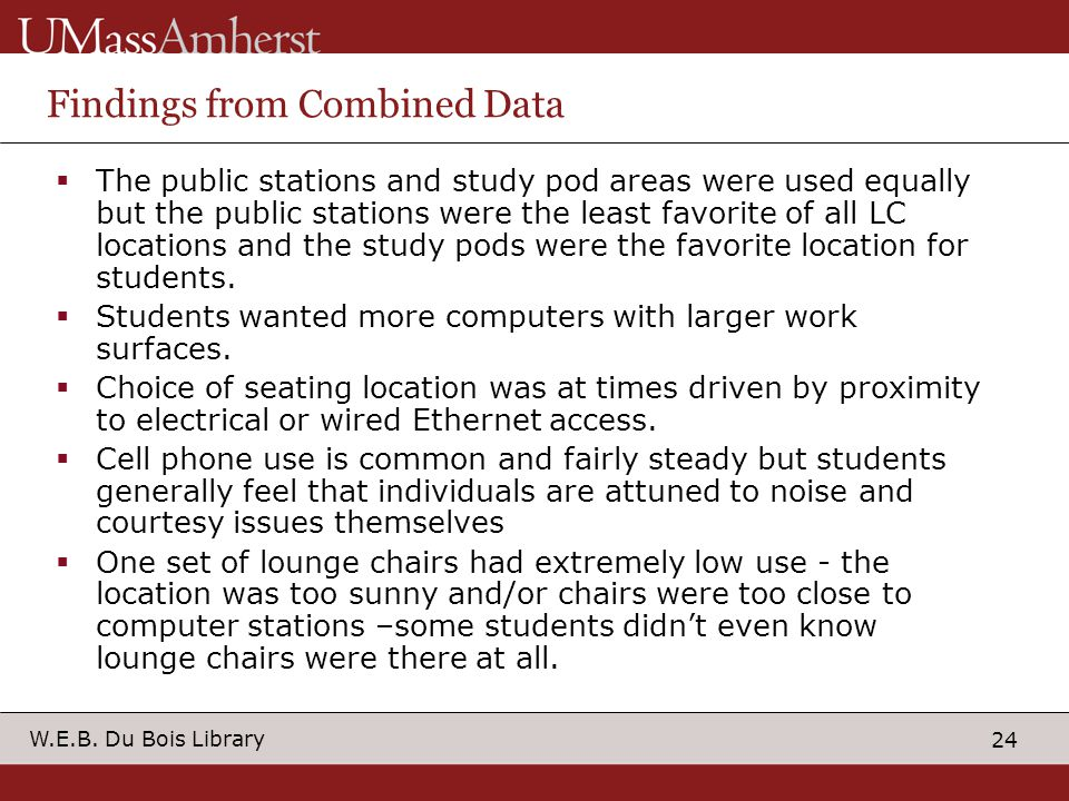 24 W.E.B. Du Bois Library Findings from Combined Data The public stations and study pod areas were used equally but the public stations were the least