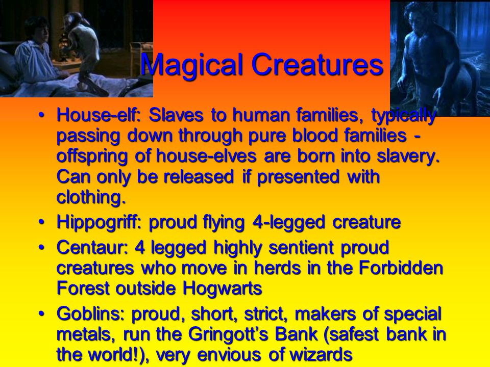 Magical Creatures House-elf: Slaves to human families, typically passing down through pure blood families - offspring of house-elves are born into slavery.