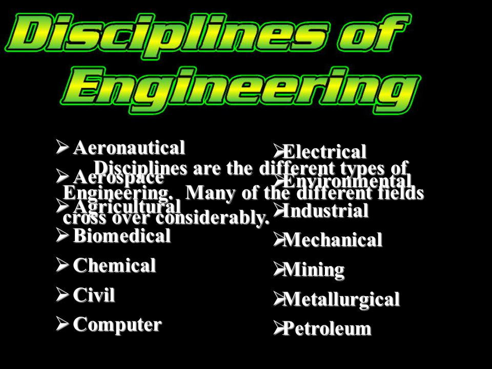 Aeronautical Aeronautical Aerospace Aerospace Agricultural Agricultural Biomedical Biomedical Chemical Chemical Civil Civil Computer Computer Electrical Electrical Environmental Environmental Industrial Industrial Mechanical Mechanical Mining Mining Metallurgical Metallurgical Petroleum Petroleum Disciplines are the different types of Engineering.
