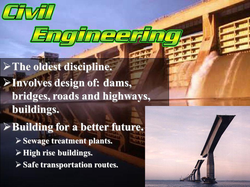 The oldest discipline. The oldest discipline. Involves design of: dams, bridges, roads and highways, buildings. Involves design of: dams, bridges, roa